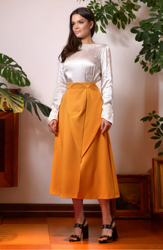 The Monarch Skirt (Midi Skirt with Front Panels)