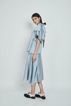 Tiger Lily Skirt (Asymmetric A-line Midi Poplin Midi Skirt)