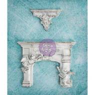 Prima, Shabby Chic Treasures, Resin, 2pc ,Cherub Fireplace and Shelf, Scrapify, Australia