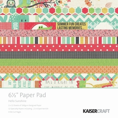 Kaisercraft  6.5in, Paper Pad, Hello Sunshine, Design paper, 40 Page Pad, 2x12 sheets Designed Paper, 12xSpecialty Papers, 4xDie Cut Pages, Scrapify, Australia