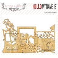teresa collins,Hello My Name Is Laser-Cut Wooden Shapes 25/Pkg, Scrapify, Australia