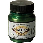 Jacquard Lumiere, Light Body, Metallic Acrylic Paint 2.25oz, Olive Green 562, Scrapify, Australia