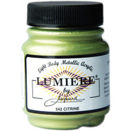 Jacquard Lumiere, Light Body, Metallic Acrylic Paint 2.25oz, Citrine 542, Scrapify, Australia