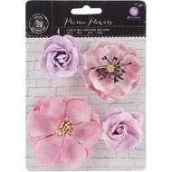 "Prima Marketing Flowers - Watercolor Mulberry Paper Flowers 2"" - 3"", 4/Pkg, Amethyst,  Scrapify, Australia"