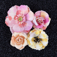 "Prima Marketing Flowers - Watercolor Mulberry Paper Flowers 2"" - 3"", 4/Pkg, Rose Quartz,  Scrapify, Australia"
