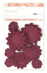 Kaiser scrapbook Paper Flowers ,asst sizes , Approx 60 ,Burgandy, Scrapify, Australia