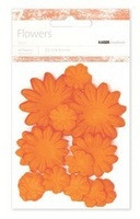 Kaiser scrapbook Paper Flowers ,asst sizes , Approx 60 , Pumpkin, Scrapify, Australia
