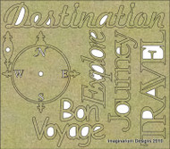 Imaginarium Designs, chipboard, Words, Compass Destination Travel, Scrapify, Australia