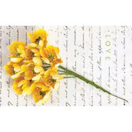 "Prima Marketing,  Divine Wire Stem Fabric Flowers 1.25"" 9/Pkg Yellow, Jodie Lee Design, Scrapify, Australia"