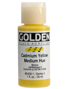 Golden, Fluid Acrylics, Artist Quality, Cadmium Yellow Medium Hue #2428 1 fl.oz, Scrapify, Australia