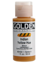 Golden, Fluid Acrylics, Artist Quality, Indian Yellow Hue 2436, 1 fl.oz, Scrapify, Australia