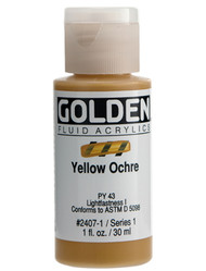 Golden, Fluid Acrylics, Artist Quality, Yellow Ochre #2407, 1 fl.oz, Scrapify, Australia