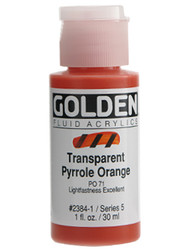 Golden, Fluid Acrylics, Artist Quality, Transparent Pyrrole Orange #2384, 1 fl.oz, Scrapify, Australia