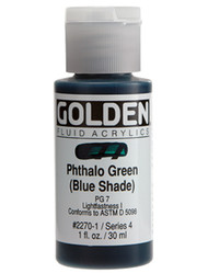 Golden, Fluid Acrylics, Artist Quality, Phthalo Green (Blue Shade) 2270,1 fl.oz, Scrapify, Australia