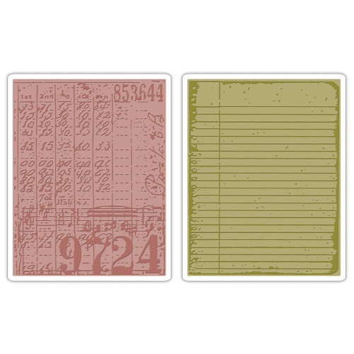 Sizzix Tim Holtz Alterations Texture Fades Embossing Folders Pk 2 Collage and Notebook Set, Scrapify, Australia