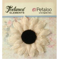 Petaloo - Textured Elements - Burlap Medium Sunflowers- Ivory- 3.5in, pk1, Scrapify, Australia