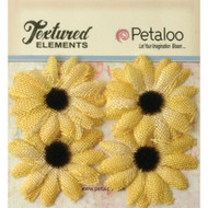 Petaloo - Textured Elements - Burlap small Sunflowers- yellow -  2in, pk 4, Scrapify, Australia