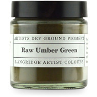 Langridge Dry Ground Pigment 120ml - Raw Umber Green, Scrapify, Australia
