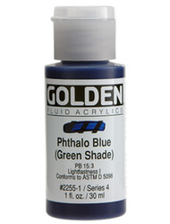 Golden, Fluid Acrylics, Artist Quality, Phthalo Blue (green shade), 1 fl oz, Scrapify, Australia