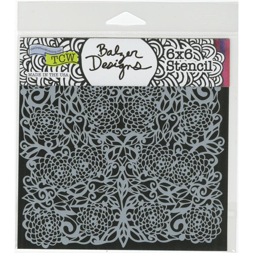 "The Crafter's Workshop,Balzar Designs, Stencils 6""x6"" - Flower Tangle, Scrapify, Australia"