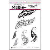 """Dina Wakley Media Cling Stamps 6""""X9"""" Sketched Layered Fronds, 6 stamps, Scrapify, Australia"""