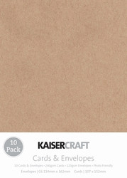 Kaisercraft cards & envelopes 107 x 152 cm, Kraft, pk 10 , Scrapify, Australia