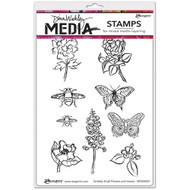 """Dina Wakley Media - Scribbly Small Flowers and Insects, Cling Stamps 6""""x9"""", Scrapify, Australia"""