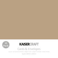 Kaisercraft cards & envelopes 140 x 140 mm, Kraft, pk 10 , Scrapify, Australia