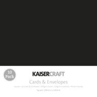 Kaisercraft cards & envelopes 140 x 140 mm, Black, pk 10 , Scrapify, Australia