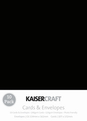 Kaisercraft cards & envelopes 114 x 162 mm, Black, pk 10 , Scrapify, Australia