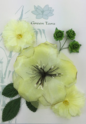 Green Tara, Fabric Flowers 'Lemon Sherbert' Pack, Scrapify, Australia