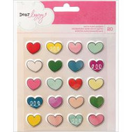 "Dear Lizzy Daydreamer Puffy Matte Stickers 4.75""X4.75"" Sheet Hearts pk 20, Scrapify, Australia"