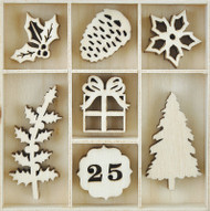 Kaisercraft, Themed Mini Wooden Flourishes 45/Pkg, Traditional Christmas, Scrapify, Australia