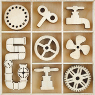Kaisercraft, Themed Mini Wooden Flourishes 45/Pkg Mechanism, FL607, Scrapify, Australia