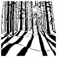 "The Crafter's Workshop Stencils 12""x12"" - Sunlit Forest. This stencil was designed by Carmen Medlin for The Crafter's Workshop"
