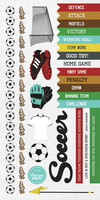 Kaisercraft Game On, Sticker Sheet, Soccer, 15 x 30cm sheet, Scrapify, Australia
