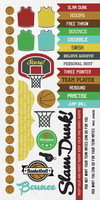 Kaisercraft Game On, Sticker Sheet, Basketball, 15 x 30cm sheet, Scrapify, Australia