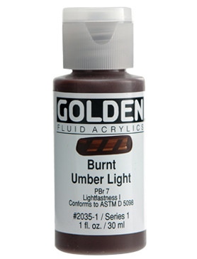 Golden, Fluid Acrylics, Artist Quality, Burnt Umber Light #2035, 4 fl.oz, 118mls, Scrapify Australian