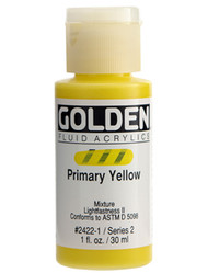 Golden, Fluid Acrylics, Artist Quality, Primary Yellow, 2422, 16 oz, (473ml), Scrapify, Australia