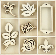 Kaisercraft, Themed Mini Wooden Flourishes 35/Pkg, Provincial, FL614, Scrapify, Australia