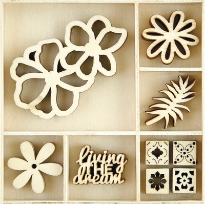 Kaisercraft, Themed Mini Wooden Flourishes 45/Pkg, Tropics, FL616, Scrapify, Australia