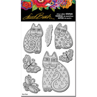 Stampendous Laurel Burch Cling Stamp, Indigo Cats with Stencil/Template, Scrapify, Australia