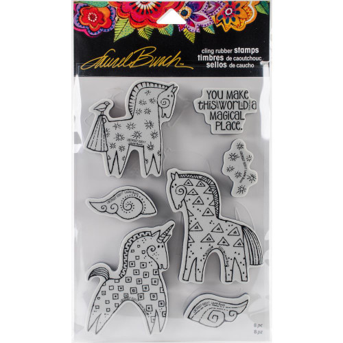 Stampendous Laurel Burch Cling Stamp, Magical Horses with Stencil/Template, Scrapify, Australia
