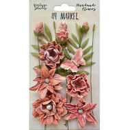 49 and Market, Flowers, Vintage Shades Cluster – Cerise, Scrapify, Australia