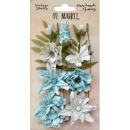 49 and Market, Flowers, Vintage Shades Cluster – Blue, Scrapify, Australia