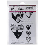 "Dina Wakley Media - Collaged Hearts Cling Stamps 6""x9"""