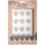 Tim Holtz Idea-ology - Shield Charms (5 Pack), Scrapify, Australia