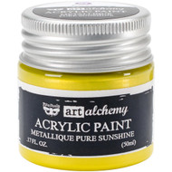 Prima Finnabair Art Alchemy Acrylic Paint - Metallique Pure Sunshine, Scrapify, Australia