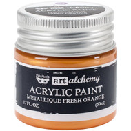 Prima Finnabair Art Alchemy Acrylic Paint - Metallique Fresh Orange, Scrapify, Australia