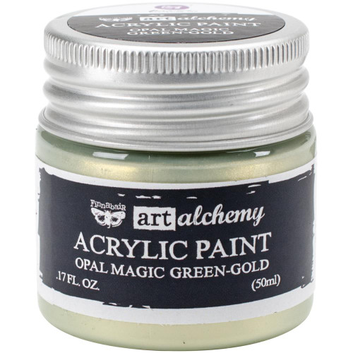 Prima Finnabair Art Alchemy Acrylic Paint - Opal Magic Green-Gold, Scrapify, Australia